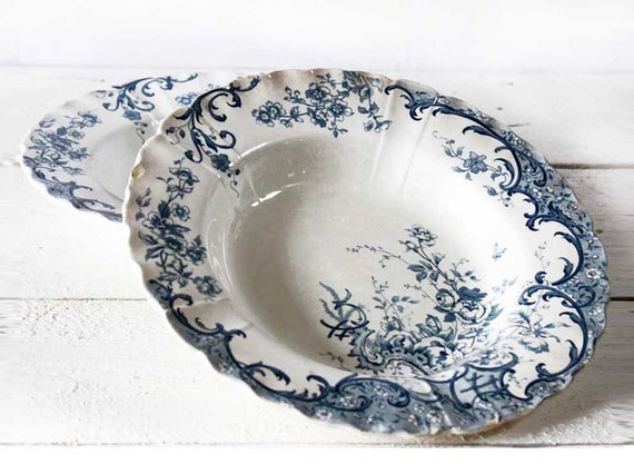 """Set of 2 soup plates  SHABBY but CHIC French  soup Plates """"Fleury """" Sarreguemines"""