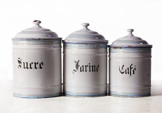 Beautiful Set of 3 LARGE White  blue and gold french ENAMEL Canisters 1900
