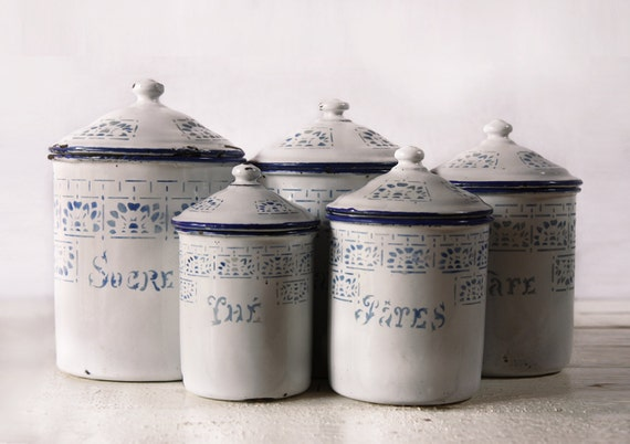 GREAT French set of  five WHITE and blue enamel canisters with beautiful blue ART Deco motif