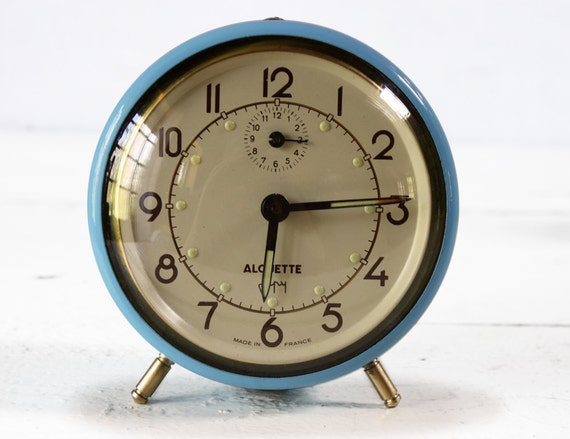 CUTE vintage French JAPY blue Alarm CLOCK