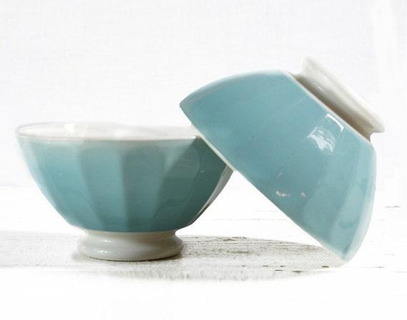1 LOVELY vintage Blue turquoise -  BOWL cafe au lait  - Shabby chic -