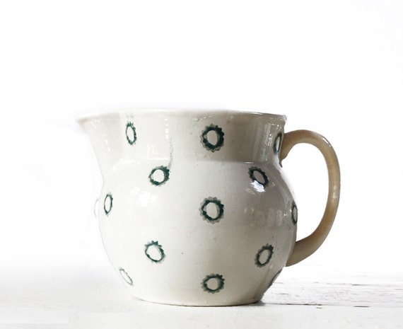 Lovely Vintage White and Blue PITCHER with DOTS