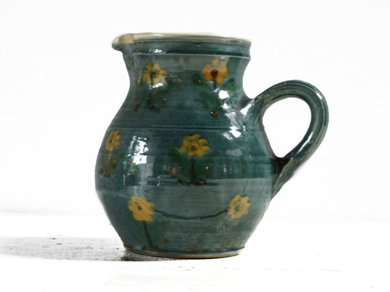 Traditional  french vintage  PITCHER with yellow flowers