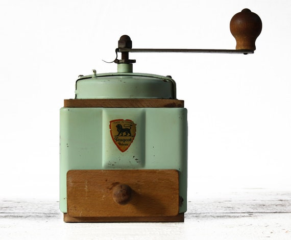 Rare French PEUGEOT ALMOND GREEN Metal and wood coffee grinder