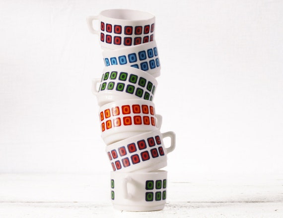 6  Little FRENCH coffee cups ARCOPAL FRANCE