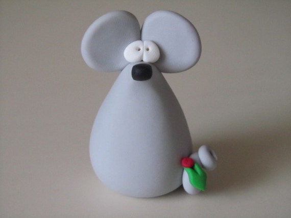Whimsical Polymer Clay Christmas Mouse