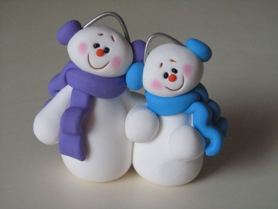 Polymer Clay Snowman Couple Figurine