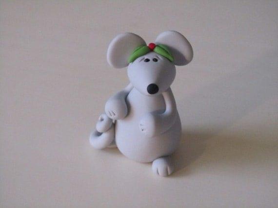 Whimsical Clay Christmas Mouse Figurine