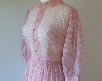 50's Sheer Pin Up Day Dress Peter Pan Collar Chiffon Puff Sleeve Button Front Full Skirt S M