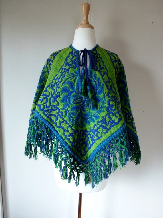 70's Tapestry Poncho in Green and Blue Hippie Boho Shawl