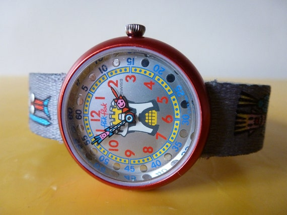 90's Flik Flak By Swatch Watch Grey Red Aluminum
