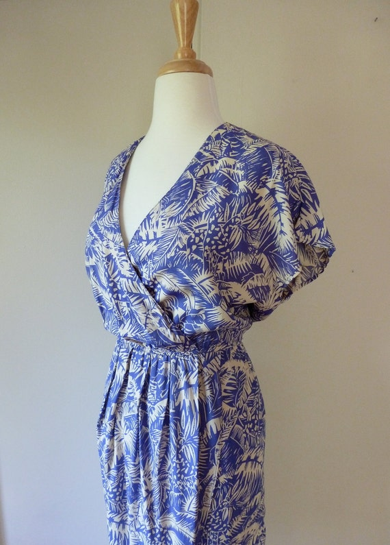 80's Tropical Dress Wrap Sarong Hawaiian Jungle Giraffe Print M L