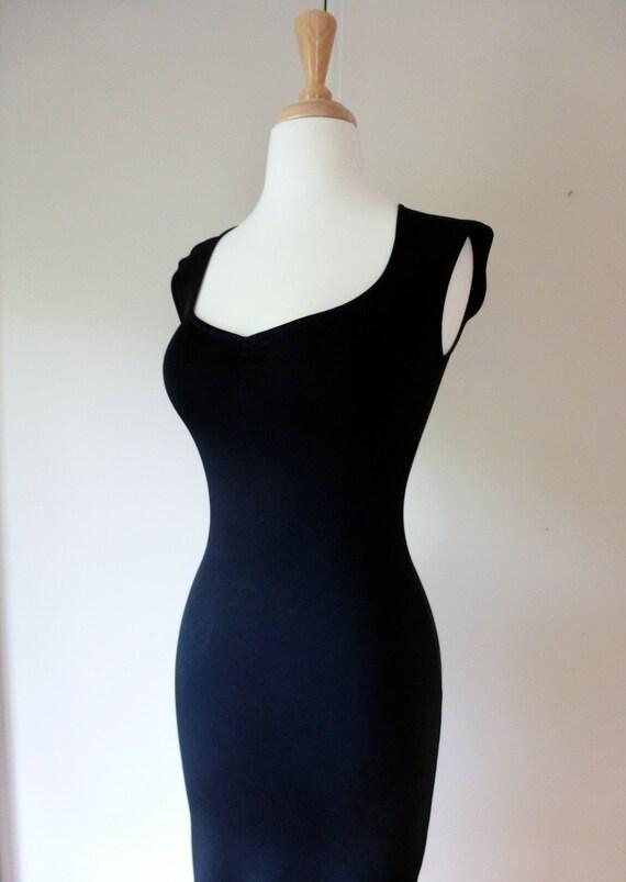 90's BETSEY JOHNSON Dress Body Con Sexy Slinky Tight Black Maxi Dress XS S P