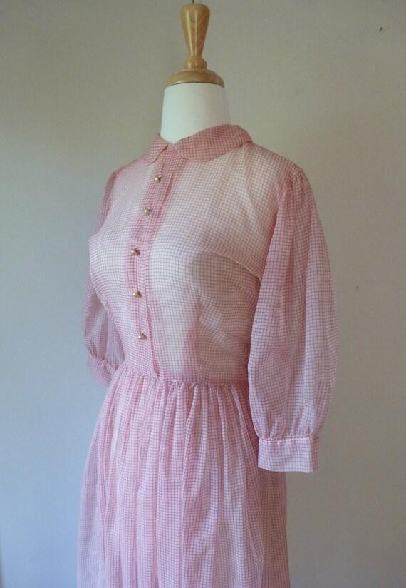 50's Sheer Pin Up Day Dress Peter Pan Collar Chiffon Puff Sleeve Button Front Full Skirt S M