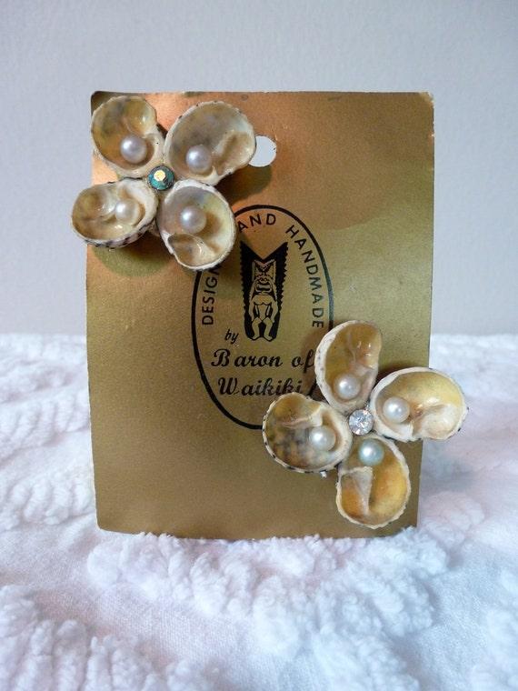 50's Hawaiian Earrings by Baron of Waikiki Seashells Pearls Rhinestones