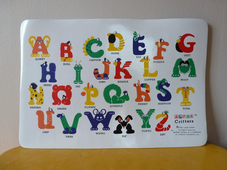 80 S Alpha Critters By Lloyd Gilbert Alphabet Place Mat