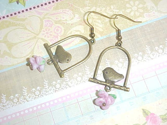 Antique Brass Bronze Little Bird Earrings with Pink Roses Fall Autumn