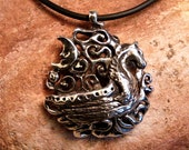 Sterling Silver Pendant Necklace Viking Boat-Moon-Swirls 'The Journey'
