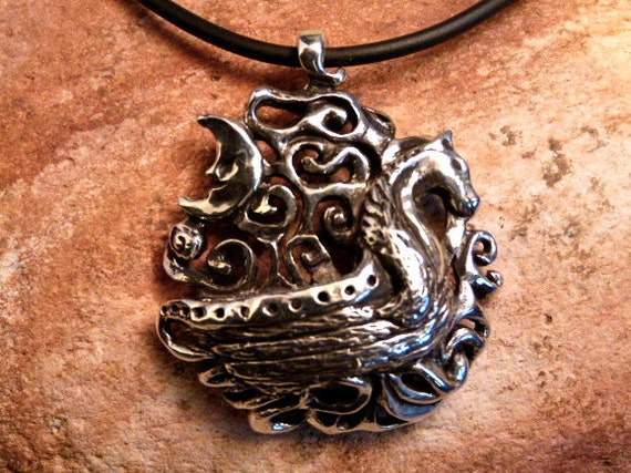 Sterling Silver Pendant Necklace Viking Boat-Moon-Swirls 'The Voyage'