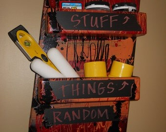 Random Things and Stuff Organizer Chalkboard Art with Pockets Organized Chaos Wood Red Orange Black