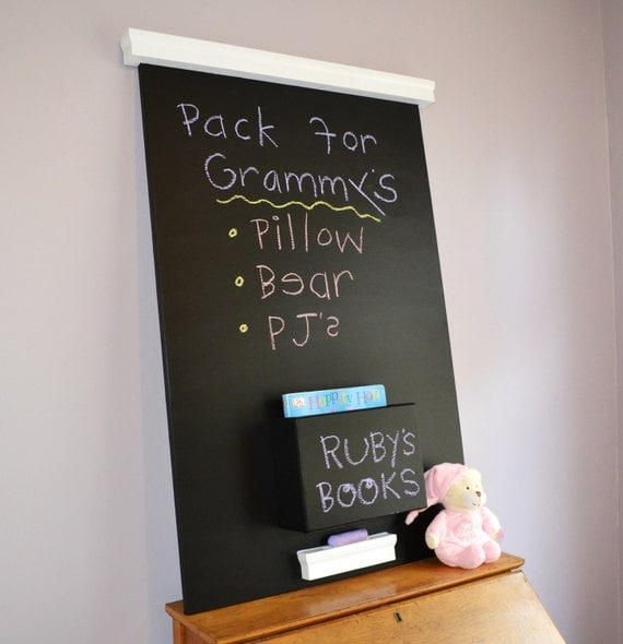 Medium chalkboard wall mounted with magazine pocket- Ready to Ship