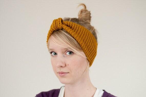 cozy yellow woolly knitted headband handmade