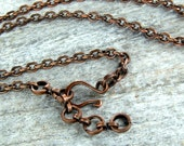 Solid Copper Chain with Handmade Clasp for Your Pendant 24inch