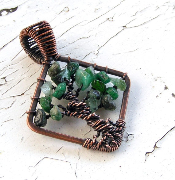 Tree of Life Pendant Copper Wire Wrapped Emerald
