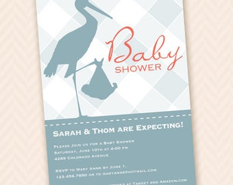Printable Stork Themed Baby Shower Invitation