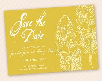 Feather / Quill Romantic Save the Date Card