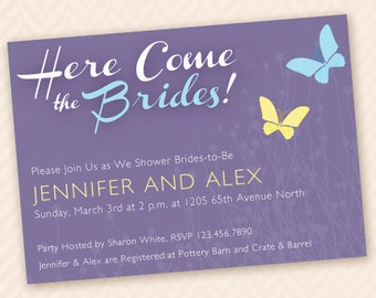 Lesbian Bridal Shower Invitation - Here Come the Brides