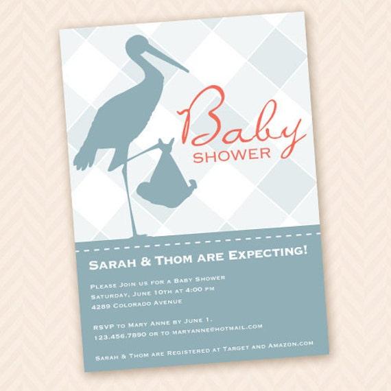 Printable Stork Themed Baby Shower Invitation