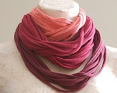 Chunky cotton jersey scarf necklace in pinks & plums