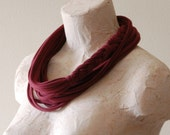 Infinity scarf - Braided womens cotton jersey statement wear tshirt necklace scarf - Upcycled tshirt - by LimeGreenLemon