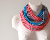 Infinity scarf - Upcycled tshirt - PINK BLUE GREY