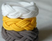 Braided Tshirt Bracelets in Yellow Grey White - Chunky Fabric Cuffs - Upcycled Cotton Jersey - by LimeGreenLemon