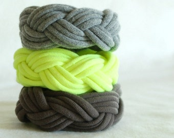 Fabric Bracelets Cuffs - Set of 3 - by LimeGreenLemon
