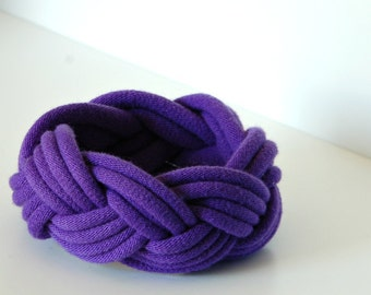 Fabric Bracelet Cuff in Purple Grape by LimeGreenLemon