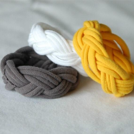 Fabric Bracelets Cuffs - by LimeGreenLemon - White Yellow Grey