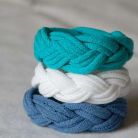Fabric Bracelets Cuffs upcycled cotton jersey tshirt bracelet cuffs BLUE WHITE TURQUOISE
