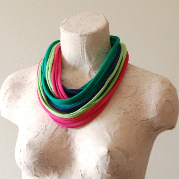 Womens Lightweight Infinity Scarf - Upcycled Tshirt Necklace - Statement Wear Cotton Jersey Loop Scarf - By LimeGreenLemon