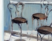 """Ice Cream Parlor Chairs 11 x 14"""" Oil painting on gessoed oak panel"""