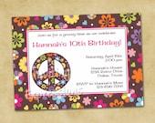 Hippie Chick Peace Sign Birthday Invitations