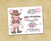 Cowgirl and Dots Birthday Invitations - Brunette
