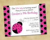 Hot Pink Ladybug Birthday Invitations