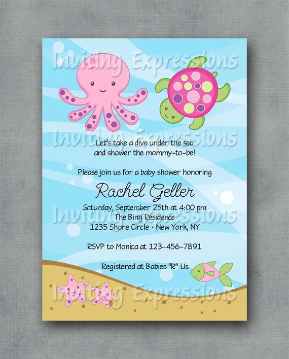 items similar to under the sea pink baby shower invitations on etsy