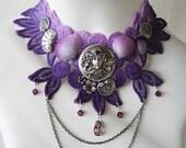 PORTRAIT of a MERMAID Beach Ocean Shell Lace Purple Choker Mermaid Necklace