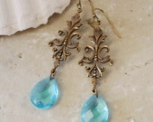 MERMAID TEARS Fantasy Victorian Mermaid Earrings with Ocean Blue Crystal Briolettes