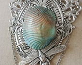 OCEAN WINGS Beach Ocean Shell Dragonfly Mermaid Necklace, one of a kind