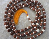 108 Buddhist prayer mala with carved wood skulls & horn rondelles